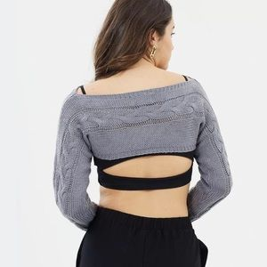 Delphine The Label Sweaters - Delphine The Label Shrine Gray Knit Crop Sweater 6